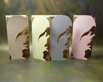 Hand Cutout Squirrel Cards/ Squirral Cards/ Hand Made Animal Cards