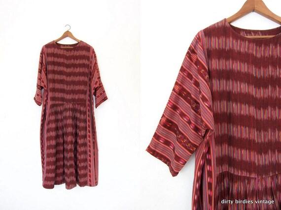 80s IKAT Caftan Dress Vintage GUATEMALAN Ethnic 70s Maxi Dress Long Colorful Boho Dress Pink Handwoven Bohemian Tribal Dress Womens XL 2XL