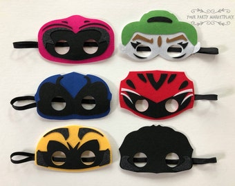 SET OF 6 Power Ranger Party Masks,Power Ranger Party Favors,Power Ranger Birthday,Power Ranger Party Decorations, Power Rangers Party