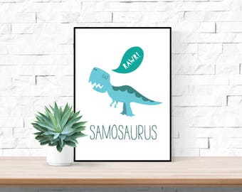 Dinosaur Personalised Name Print | Trex | Nursery Wall Art | Children's Play Room Decor Picture | 5 Colours