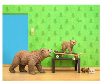 35% OFF SALE Woodland animals grizzly bear and cub skateboard print: Mama Grizzly
