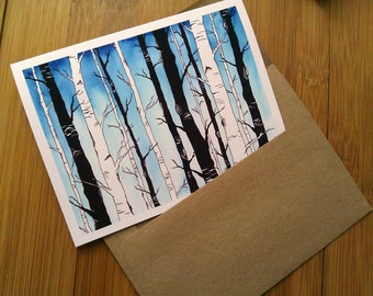 Sympathy Card, Loss of Loved One, Death of Mother, Funeral Card, Modern Sympathy Card, Sympathy, Nature Lover, Trees, Woodland, Birch Forest