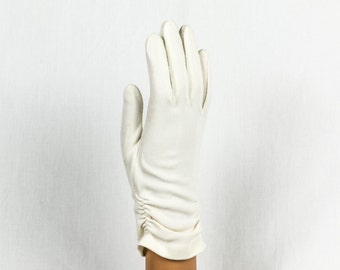 Vintage Gloves, White Nylon, 9 inches in length One Size, Gathers along each side for embellishment, Made in USA, Nice fit, no wrinkles