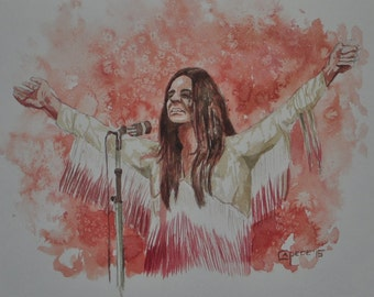 """Ozzy Osbourne,Black Sabbath,Rock Group,16x20"""" Watercolor Painting,ONE OF A KIND, Not a  Print,"""