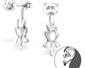 Cat Front to Back Peekaboo Stud Earrings 925 Sterling Silver - ES7745