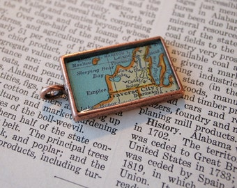 Sleeping Bear Dunes-Traverse City-Leelanau area- Michigan Map Pendant-Custom Order-Silver-Gold-or Copper