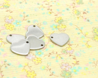 5 heart charms, silver, stainless steel, 10mm / 11mm