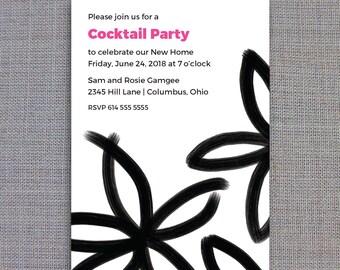 Printable Invitation Template • Instant Download • Black & White Brush Stroke Flowers