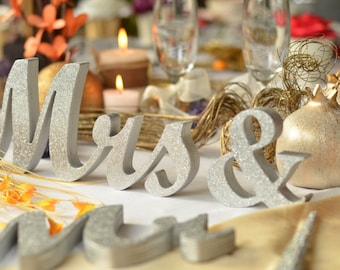 Silver Glitter Mr & Mrs letters wedding table decoration, freestanding Mr and Mrs signs for sweetheart table