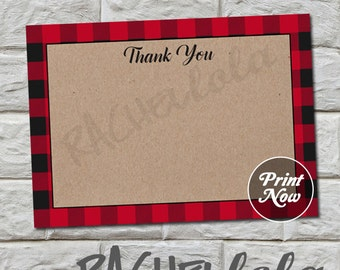 Lumberjack printable Thank You notes, red buffalo plaid, kraft, template, baby shower, birthday, christmas, instant digital download