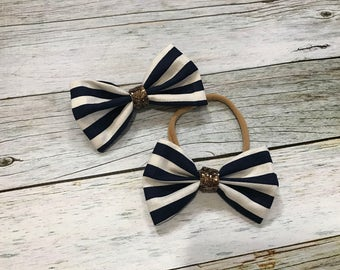 Nautical Hair Band, Navy and White Striped Hair Bow for Girls and Babies, Navy Bow, Striped Bow, Stretchy Bow, Striped Hair Bow