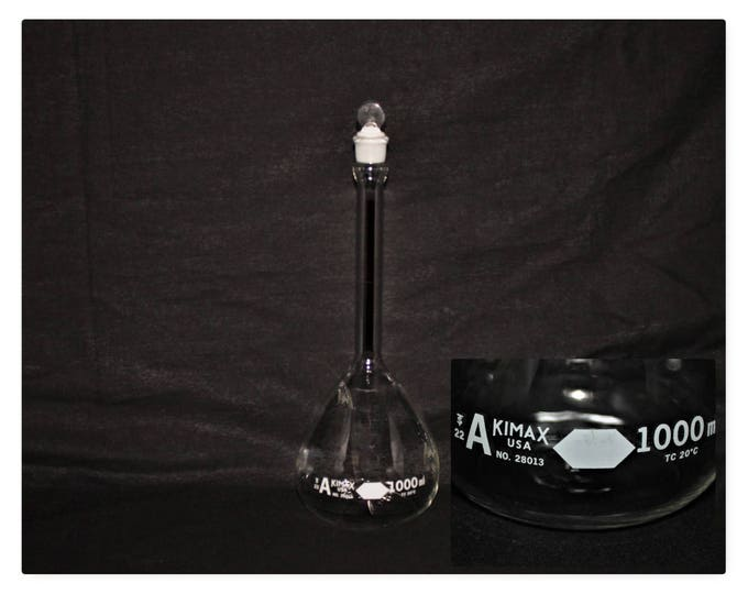 Vintage 1000mL Kimax Class A Volumetric Flask with Ground Glass Penny Head Stopper and Vertical Red Stripe, Kimax# 28013