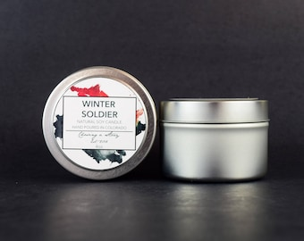 Winter Soldier // 4oz Soy Candle - Bucky Barnes - Captain America - Avengers - Handmade - Gifts - Bookish - Movie Candle - Geek Gifts