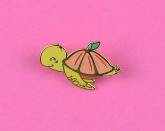 Grapefruit Turtle Hard Enamel Pin - tiny enamel pin badge for turtles lovers