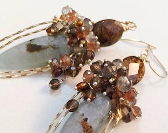 Earth Goddess Earrings, Mother's Day Gift for Her, Green Kyanite, Gold Earrings, Healing Jewelry, Smoky Quartz, Labradorite