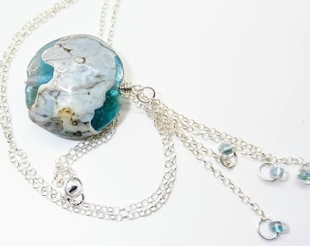 Handmade Lampwork Bead Aqua Silvered Ivory Lentil Necklace - Prima Donna Beads