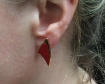 Bright red enameled and gold tone metal earrings