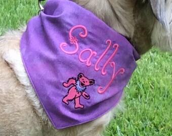 Custom Grateful Dead Dancing Bear Dog Scarf/Bandana-personalized dog scarf-custom dog bandana-new puppy gift-custom dog scarf