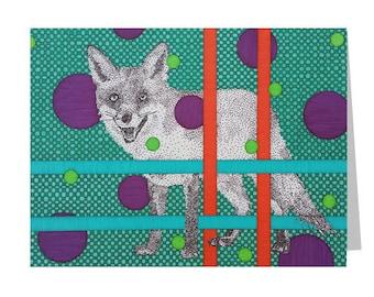 Fox Greeting Card - Blank 5x7 Card - Wild Animal Card - Card For Him - Birthday Card - Thank You Card - Wildlife Card - Modern Art - Teal