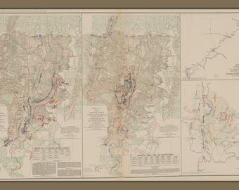 Battle of Chickamauga; Antique Map Civil War Sheets 1 & 2