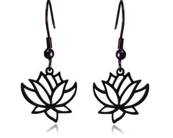 Black Lotus Flower Stainless Steel Dangle Earrings