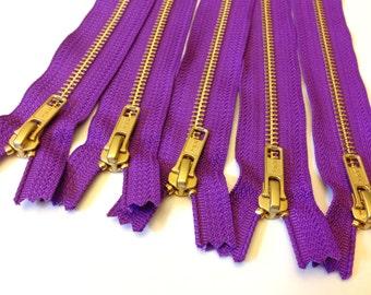 Wholesale metal teeth zippers - Five Purple 7 inch brass zippers - YKK color 284, gold teeth zippers