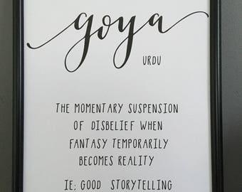 Goya Untranslatable Word Print