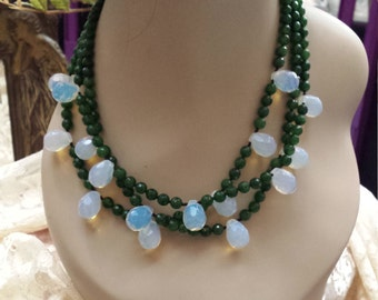 three strand faceted green jade and opulite faceted teardrops