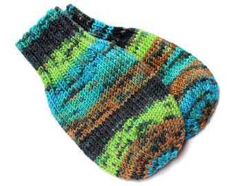 Wool-Free Baby Mittens on String. Knit Thumbless Cordless Baby Mitts. Black Teal Green Winter Mittens. Infant 9 to 12 Months Hand Warmers