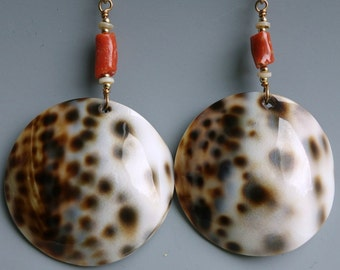 Tiger Cowry Shell Coral Earrings
