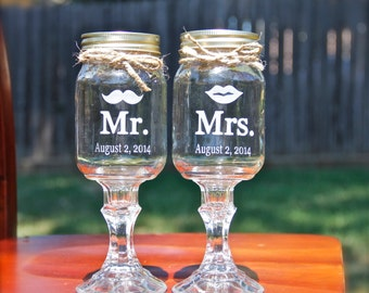 2 Mr. Mrs. Redneck Wine Glass Mr and Mrs set - Wedding, Mustache,