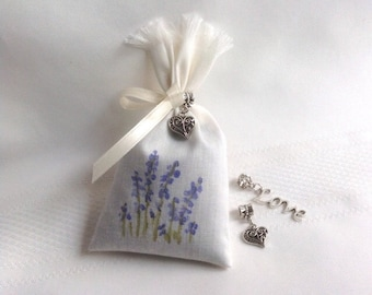 Wedding Favors - Set of 10 Bridal Favors Hand Painted Lavender Sachet Favors Bridal Shower Favors