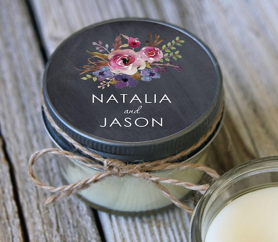 80 - 4 oz Soy Candle Wedding Favors - Chalkboard Floral Label - Bridal Shower Favors - Chalkboard Bridal Shower Favor - Wedding Favor Candle