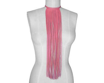 Biker Chick, Leather Fringe Choker, Cosplay Punk Pink Fringe Necklace, Boho Necklace, Gift for her, Biker necklace, Leather Choker, Hot Pink