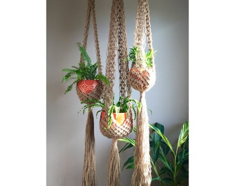 VENUS Boho Hippie Macramé Plant Hangers// CHOOSE One or Set Of 3 Retro 70s Collection Line Trio Matching or Order Any One Large Long Jute