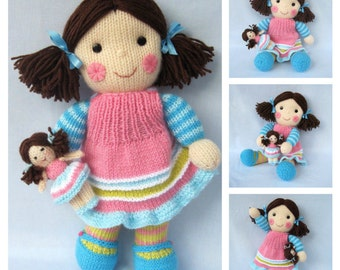 Maisie and her little doll - toy doll knitting pattern - PDF INSTANT DOWNLOAD