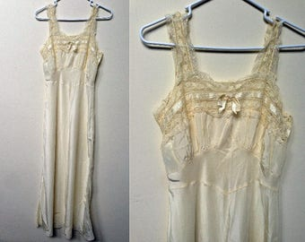 1930s-1940s Large Cream Yellow Nightgown / Plus Size Vintage Lingerie / Size 38B / Long Silky Nightgown Bias Cut / 1930s Lingerie