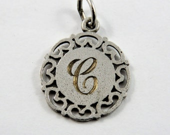 "Initial ""C""  Sterling Silver Charm or Pendant."