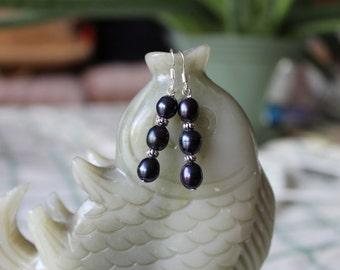 Black Freshwater Pearl Earrings, sterling silver hook