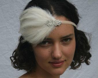 Art Deco Headband, great gatsby Headband, 1920s headpiece silver swarovski crystal Ivory  fascinator elastic feather gatsby dress flapper