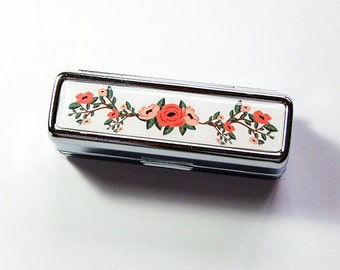 Flower Lipstick case, Lipstick case with mirror, Floral lipstick case, Lipstick holder, orange, green, gift for her, Flowers, floral (4962)