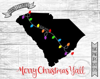 Merry Christmas Y'all South Carolina Christmas Lights SVG / Merry Christmas Y'all Cut File and Printable / Commercial Use