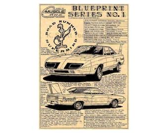 1970 Plymouth Superbird Art Print, Road Runner,Man Cave Decor,11 x 17  Superbird,by K. Scott Teeters,MuscleCar print,1970 Muscle Car