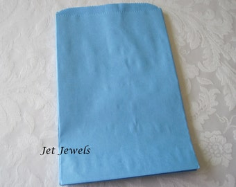 100 Paper Bags, Gift Bags, Blue Paper Bags, Kraft Paper Bags, Candy Bags, Merchandise Bags, Retail Bags, Light Blue, Baby Blue 6x9