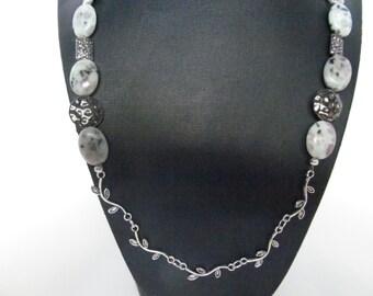 Sesame Jasper necklace, silver leaves necklace, vine necklace, sesame jasper stones,