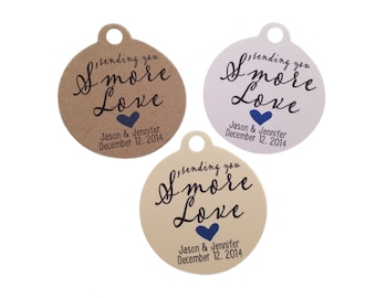 Wedding Gift Tags - Sending You S'more Love - Wedding Favor Tags - Customizable Personalized (WT1429)