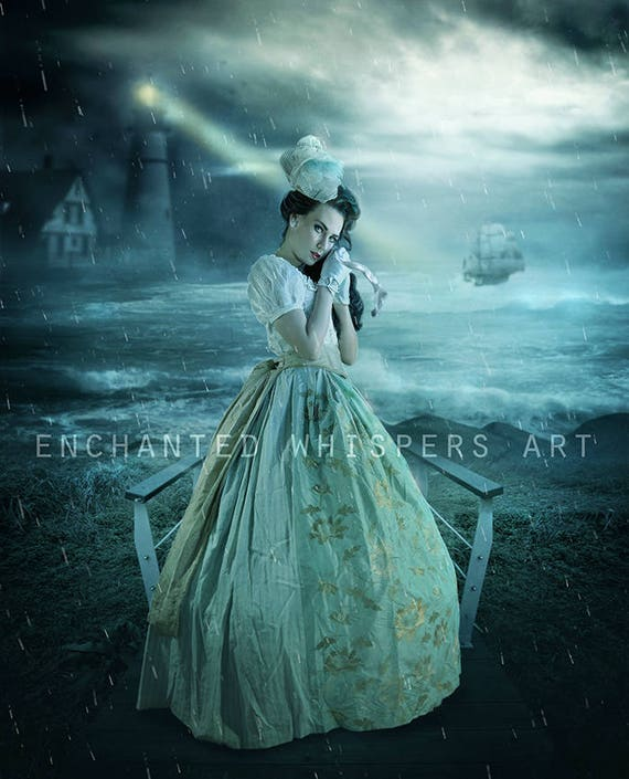 Vintage woman by the sea with lighthouse art print