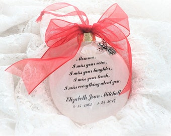Memorial Ornament, Momma, (or Dad, Father, Mother, Sister, Brother, etc.) I Miss Your Voice, Free Personalization and charm