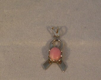 Breast Cancer Awareness Pendant with Rhodonite Cabochon