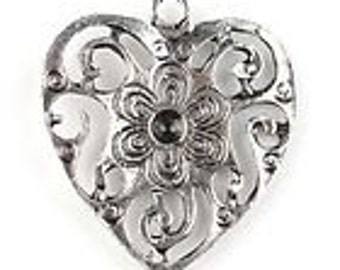 20 Antique Silver Heart Charms Pack Of 20